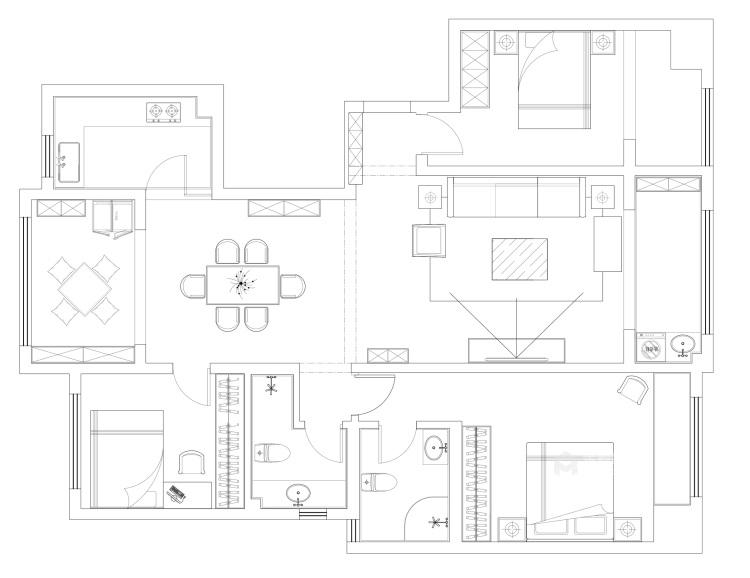 135平现代风格简单一点就好-平面设计图及设计说明
