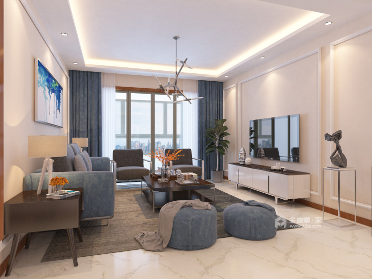 135平现代风格简单一点就好-客厅效果图及设计说明