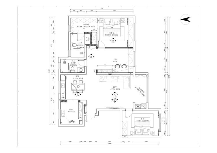135平极致简奢,演绎品质生活-平面设计图及设计说明