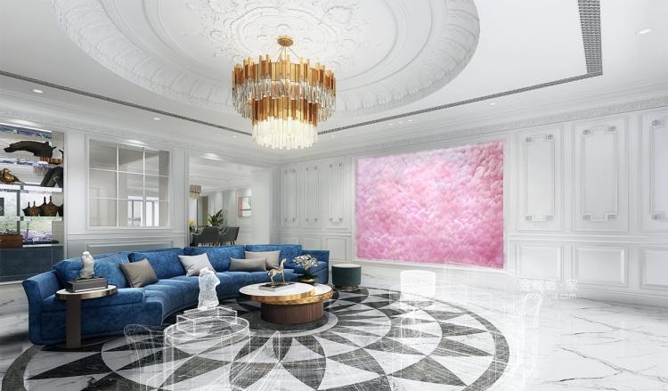 330平大宅 感受法式轻奢空间-客厅效果图及设计说明
