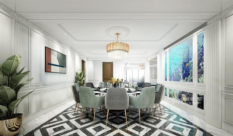 330平大宅 感受法式轻奢空间-餐厅效果图及设计说明