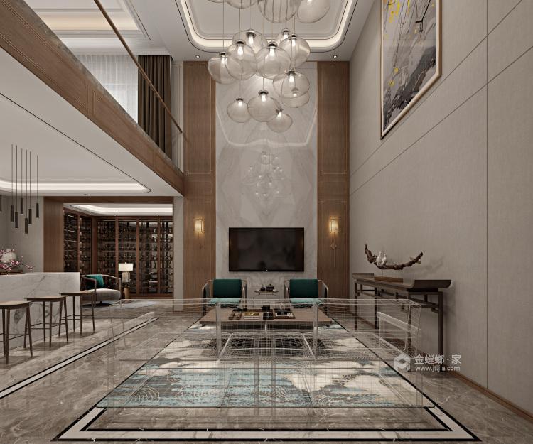 豪华新中式 感受悠闲的生活气息-客厅效果图及设计说明