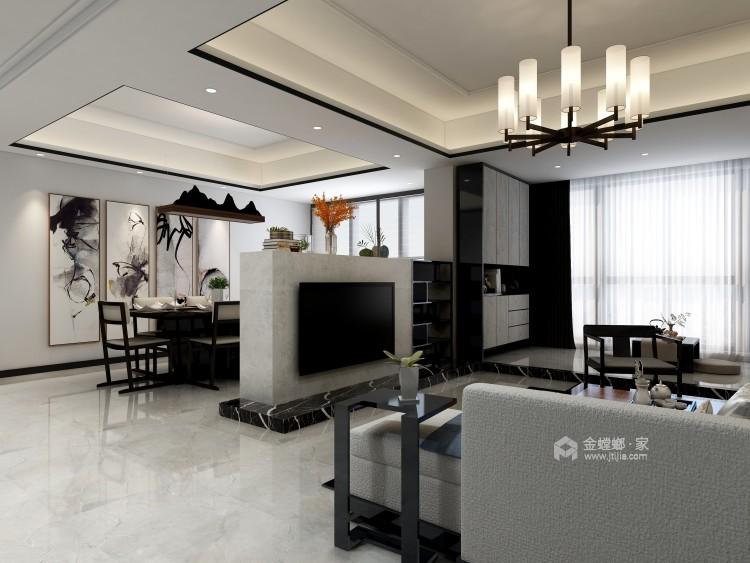 在新中式的典雅清新中,三代同堂共享天伦之乐-餐厅效果图及设计说明