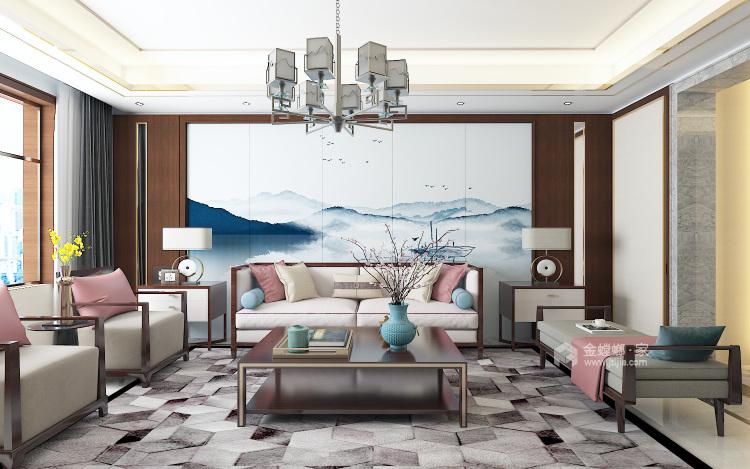 新中式诠释中国的特色-客厅效果图及设计说明