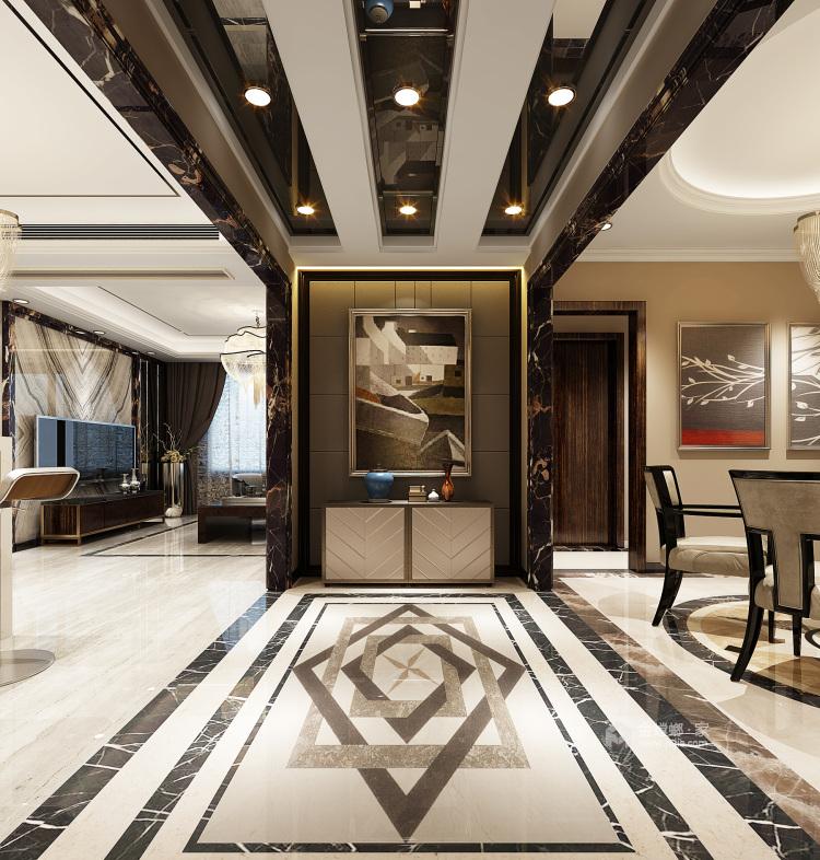 148㎡现代轻奢风的三口之家-餐厅效果图及设计说明