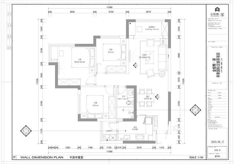 90㎡国际现代三居-平面设计图及设计说明