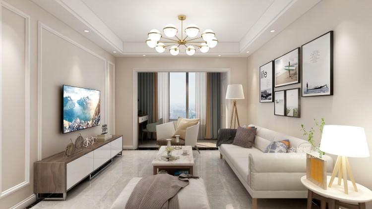 90㎡国际现代三居-客厅效果图及设计说明