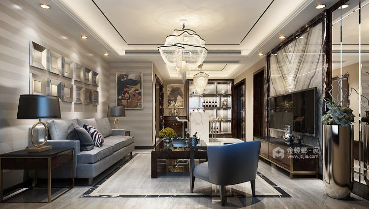 148㎡现代轻奢风的三口之家-客厅效果图及设计说明