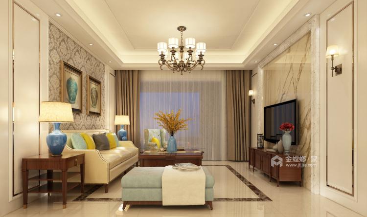 160平米美式轻奢的品质生活-客厅效果图及设计说明