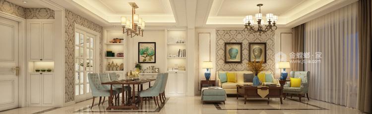 160平米美式轻奢的品质生活-餐厅效果图及设计说明