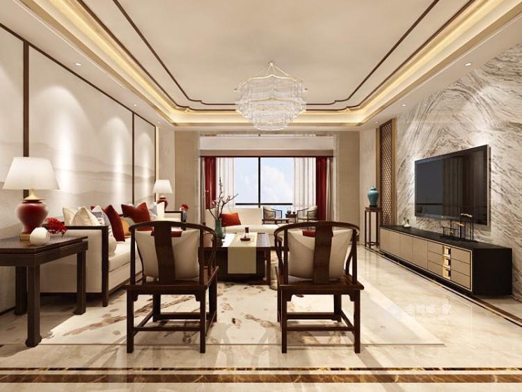 280平大平层,看当代中国文人墨客气质的新风格-客厅效果图及设计说明