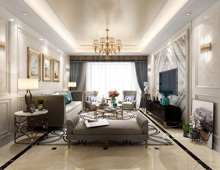温馨与品质相融合的130平三口幸福之家-客厅效果图及设计说明