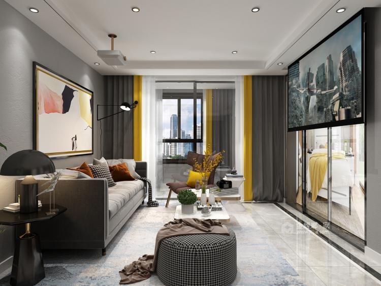 现代轻奢,与自己独处的艺术-客厅效果图及设计说明