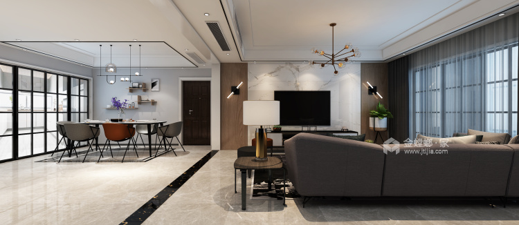 轻奢,高贵而简约的完美融合,112平米现代风格-空间效果图