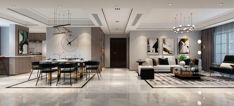 迷人的轻奢主义,115平米现代风格-空间效果图