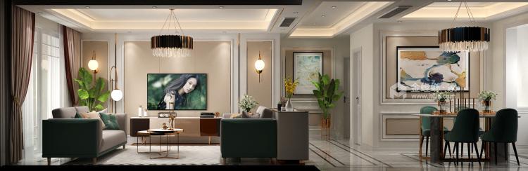 簡歐輕奢,色彩與美感的完美結合-客廳效果圖及設計說明
