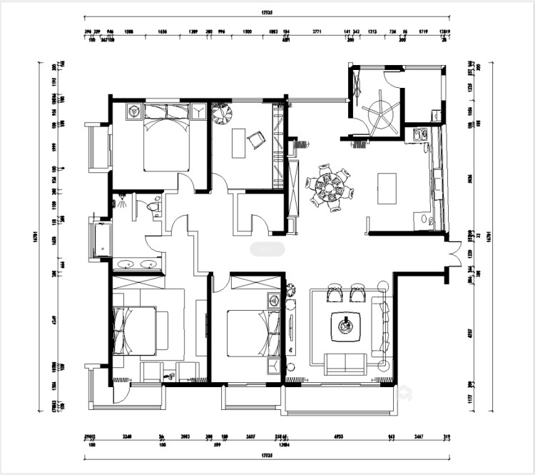 251大户型典雅欧式风-平面设计图及设计说明