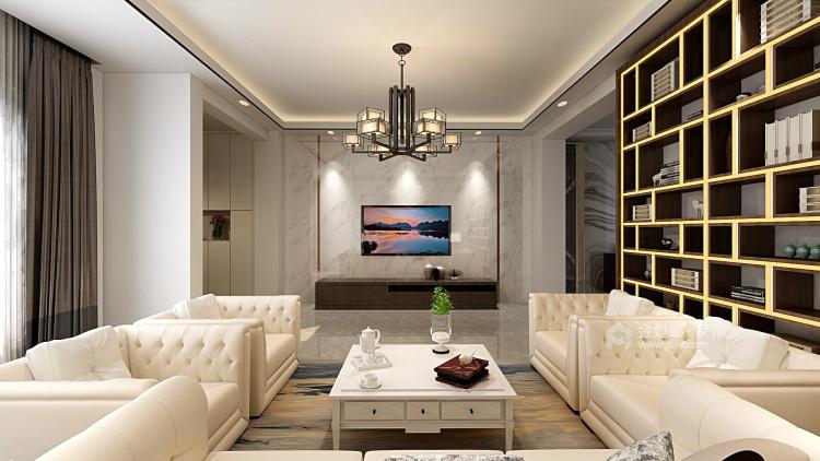 350大户型现代传统相结合-客厅效果图及设计说明