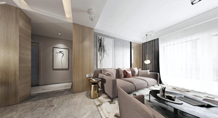 都市中的简约生活 124㎡现代三居-客厅效果图及设计说明