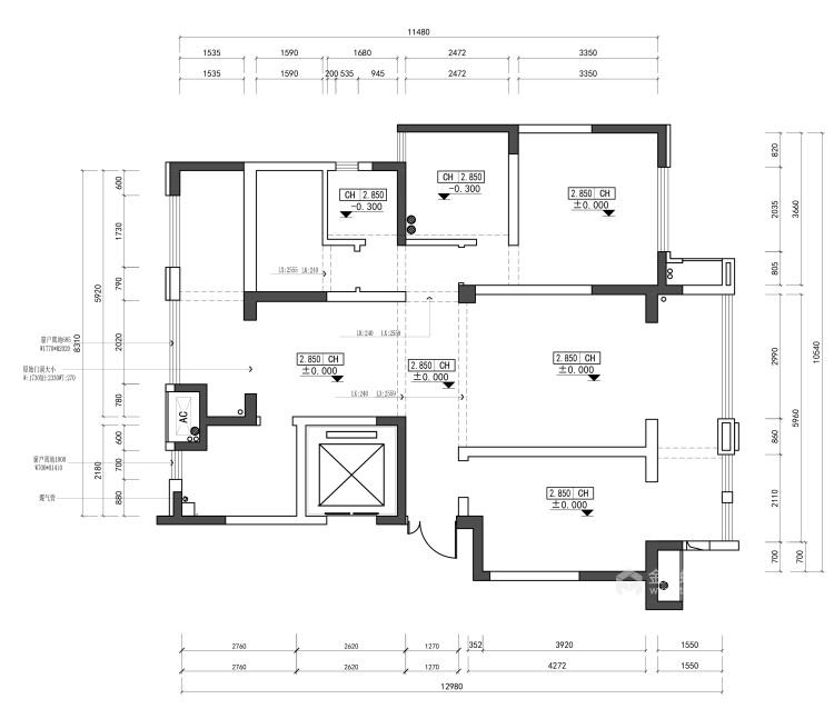 都市中的简约生活 124㎡现代三居-业主需求&原始结构图
