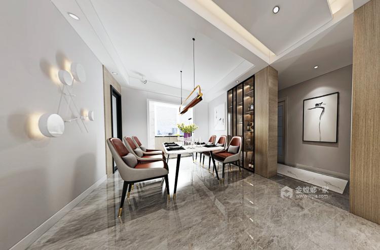 都市中的简约生活 124㎡现代三居-餐厅效果图及设计说明