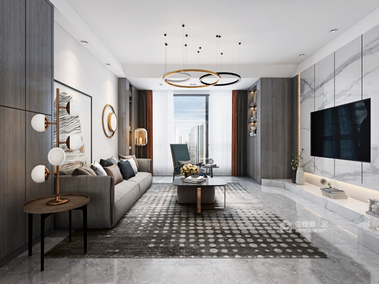 大宅里的现代生活 260㎡现代别墅-客厅效果图及设计说明
