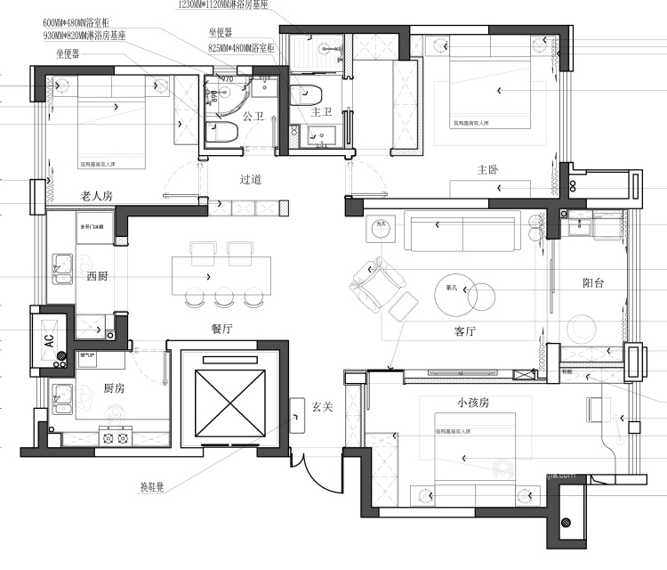 都市中的简约生活 124㎡现代三居-平面设计图及设计说明