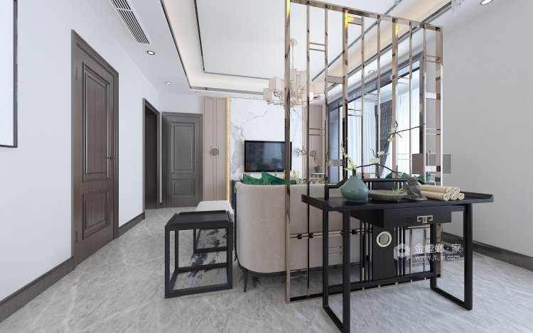 126平新中式,典雅大气-客厅效果图及设计说明
