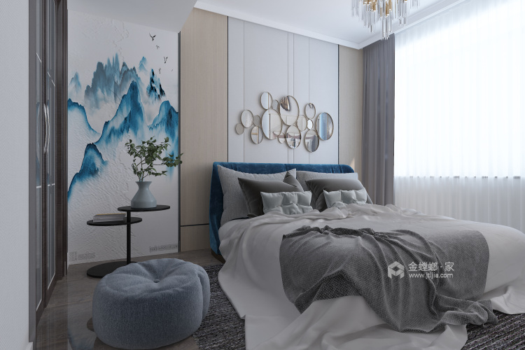 126平新中式,典雅大气-卧室效果图及设计说明