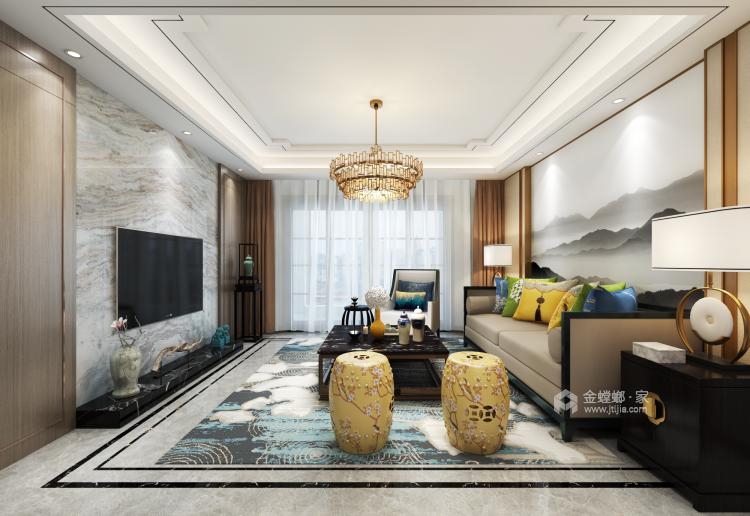 唯美典雅新中式大宅-客厅效果图及设计说明