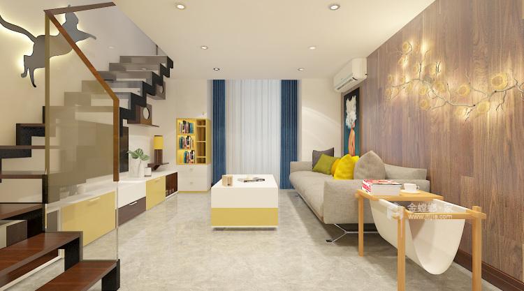 俏皮可爱的明黄色两口之家-客厅效果图及设计说明