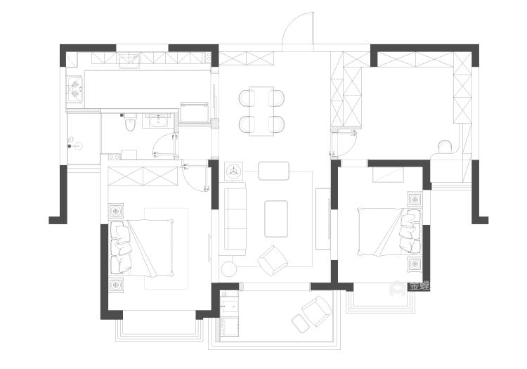 黑白空间,只做纯粹的自己!-平面设计图及设计说明