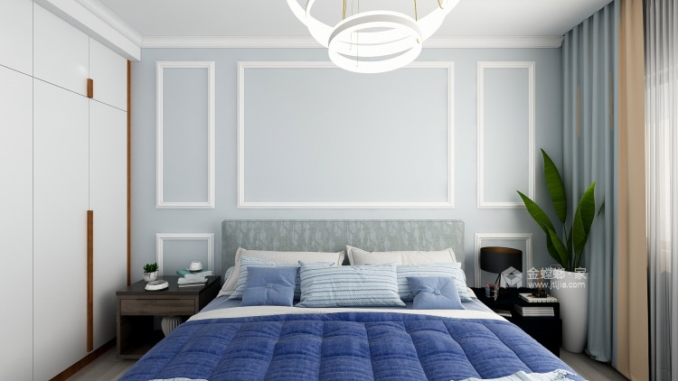 白与灰的碰撞,极具创意的设计和谐统一层次分明-卧室效果图及设计说明