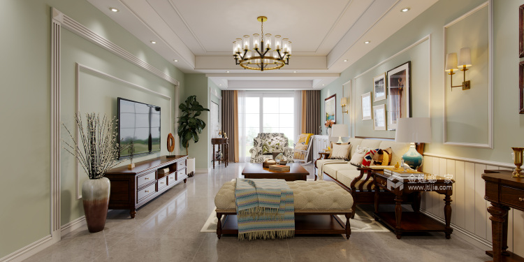 165平米美式轻奢,溢于言表的艺术-客厅效果图及设计说明