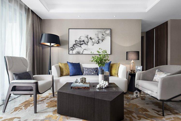 120平米后现代,深浅搭配,连呼吸都是艺术的味道-客厅效果图及设计说明