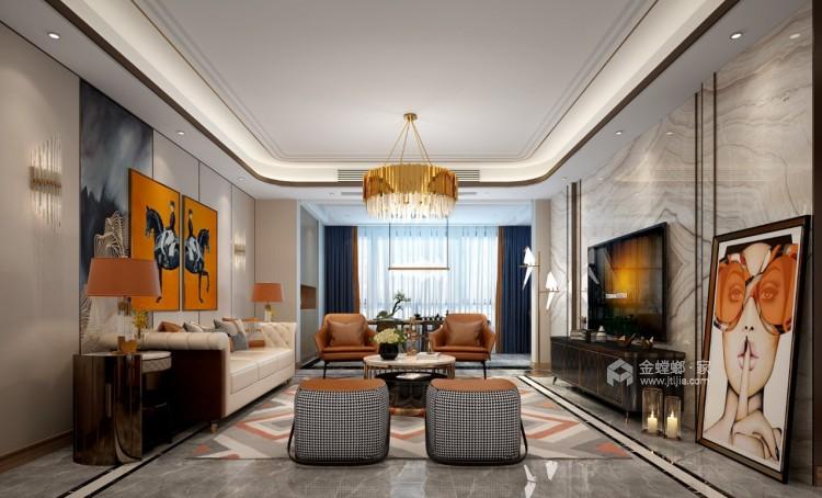 软装巧妙混搭 勾勒精致现代风-客厅效果图及设计说明