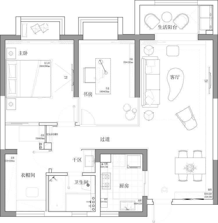 公寓这样装现代又温馨-平面设计图及设计说明