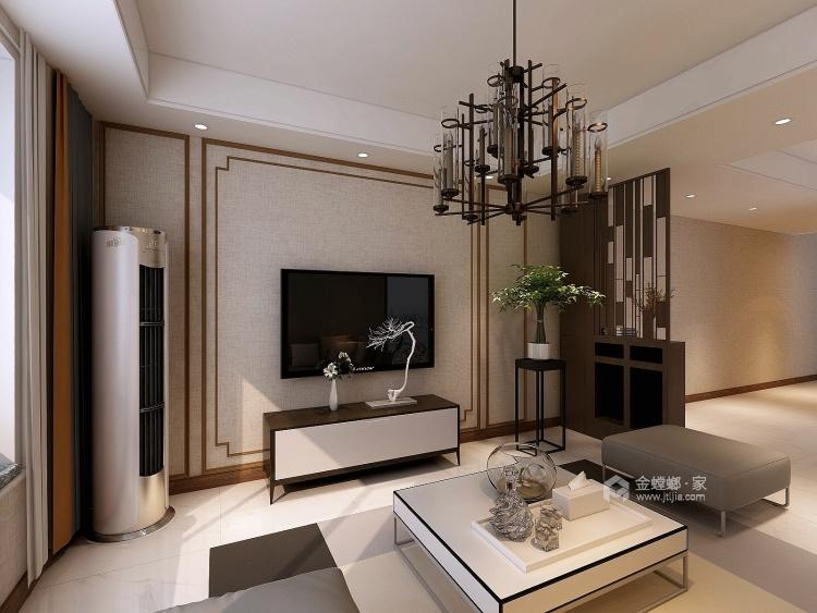 120平简约不简单的新中式风-客厅效果图及设计说明