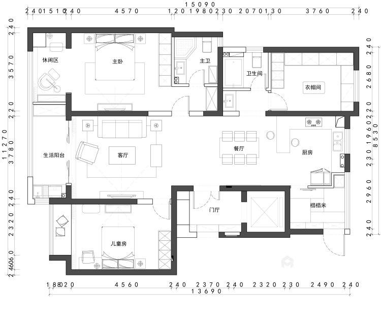 145平简约现代风 享小资之家-平面设计图及设计说明