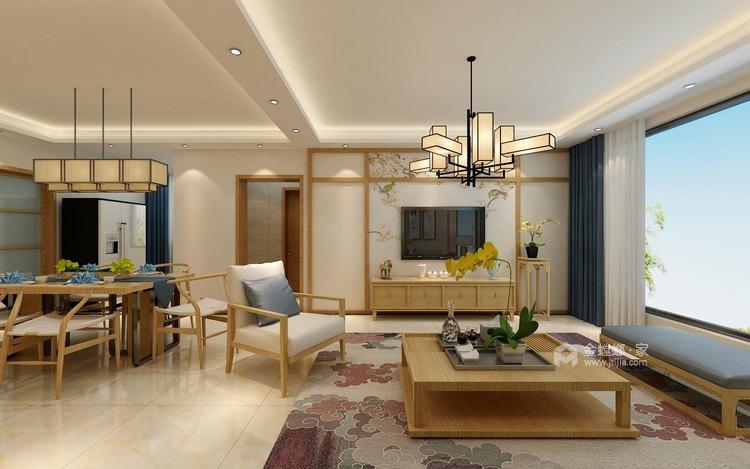 140平中式韵味新中本色-客厅效果图及设计说明
