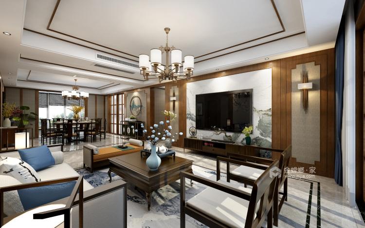 其乐融融 180平四代人的中式家-客厅效果图及设计说明