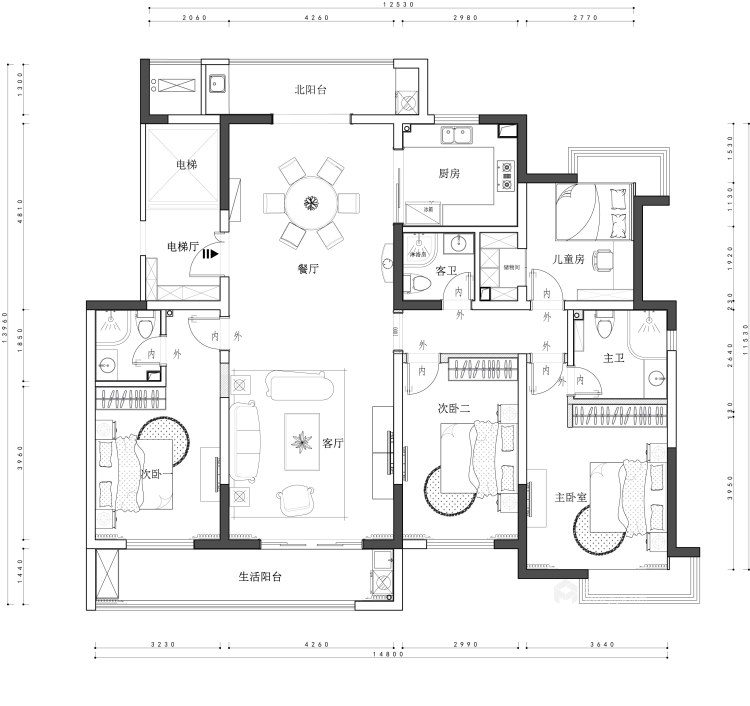 其乐融融 180平四代人的中式家-平面设计图及设计说明