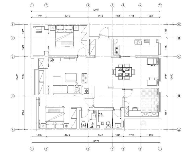 娴静 文雅 适合老年人居住的设计方案-平面设计图及设计说明