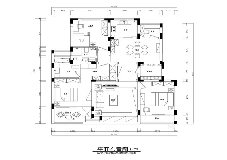 175平经典美式 开启精致生活-平面设计图及设计说明