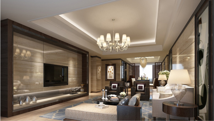 """80后颇具有""""科技感""""的中国居-客厅效果图及设计说明"""