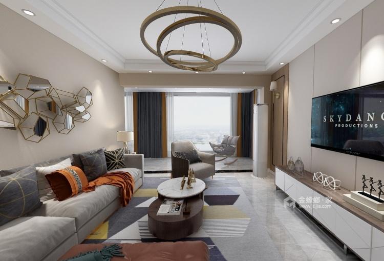 135平现代风格 温馨感与实用性兼备-客厅效果图及设计说明