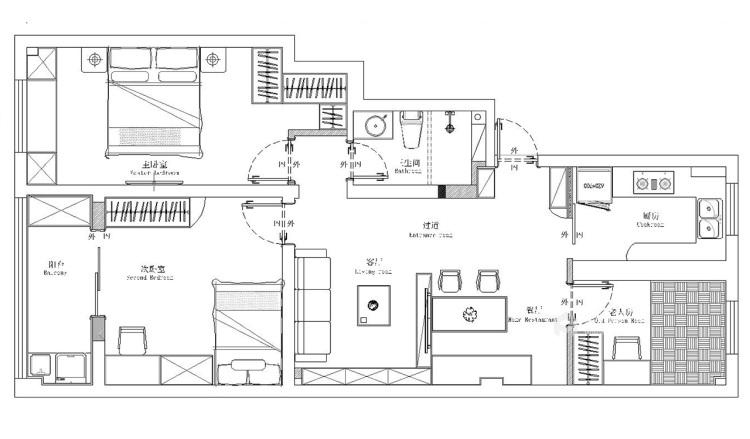 92平舒适小家,满满北欧风情-平面布置图