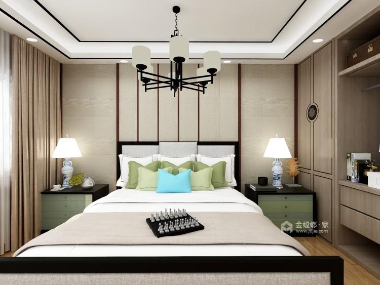 三居室新中式 展现清雅含蓄 端庄丰华的东方神韵-卧室效果图及设计说明