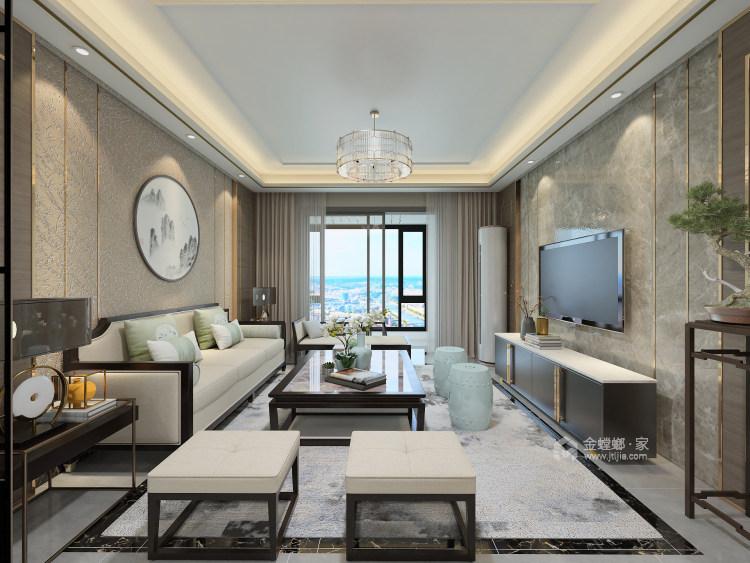 现代审美加传统韵味 124平新中式就该这样设计-客厅效果图及设计说明
