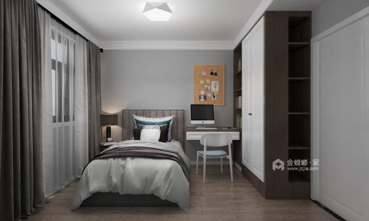 暖色调现代风,一家四口其乐融融-卧室效果图及设计说明